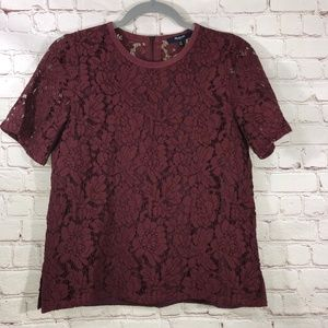 Madewell Maroon Lace Blouse